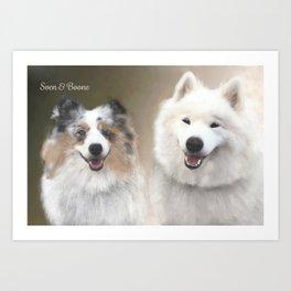 Sven & Buddies; Sheltie & Samoyed Portrait Art Print