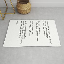 Do You Know What You Are, Inspirational, Motivational, Spiritual, Rumi Quote Rug