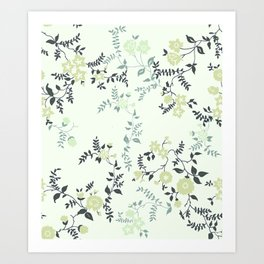 Mint Floral Art Print