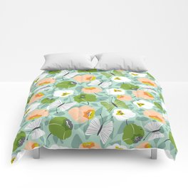 Butterfly Blossom Floral - Sage Green Comforters