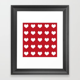 Hearts red and white minimal valentines day love gifts minimal gender neutral Framed Art Print