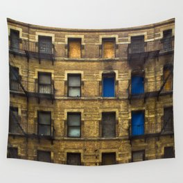 CONDEMNED WITH 3 BLUE DOORS Wall Tapestry