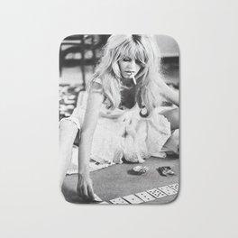 Brigitte Bardot Playing Cards, Black and White Photograph Bath Mat