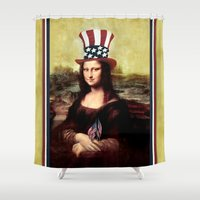 mona lisa Shower Curtains featuring Patriotic Mona Lisa  by Gravityx9