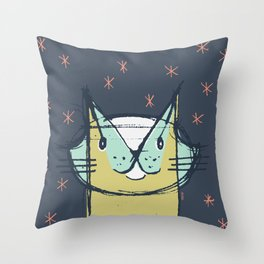 Cubist Cat Study #11 by Friztin Throw Pillow