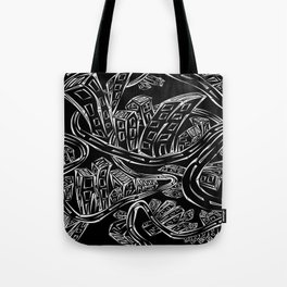 Entangled City Inverted Tote Bag