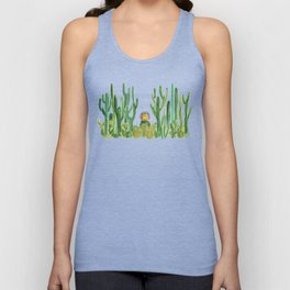 In my happy place - hedgehog meditating in cactus jungle Unisex Tank Top