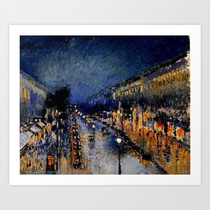 The Boulevard Montmartre At Night Camille Pissarro Art