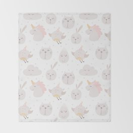 Pastel pink gray cute magical funny unicorn animals Throw Blanket