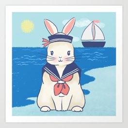 Sailor Bunny At The Beach Art Print