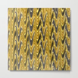 Zigzag Yellow Metal Print