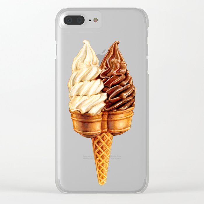 Ice Cream Pattern - Teal Clear iPhone Case