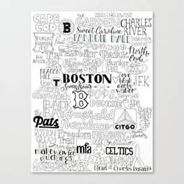 Boston Typography Mashup Canvas Print