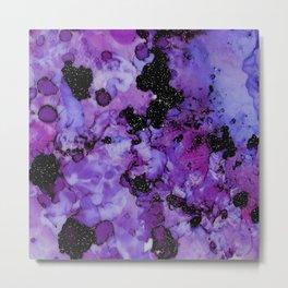 Galaxy Purple Glamour Marble Sky Metal Print