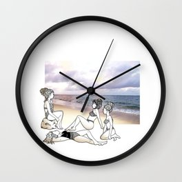 Girlfriends at the Beach Wall Clock
