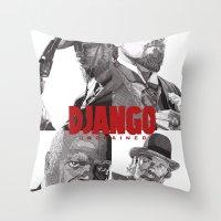 django Throw Pillows featuring Django Unchained by Rik Reimert