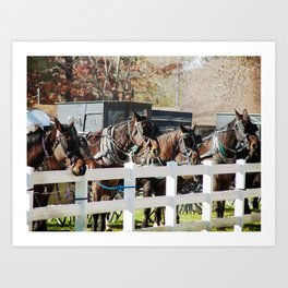 Line of Horses and Buggies Art Print
