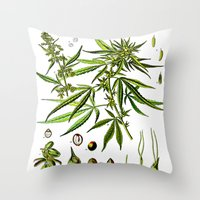 cannabis Throw Pillows featuring Cannabis Sativa - Koehler (1887) by Ouijawedge