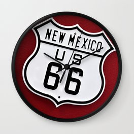 Historic Route 66 sing in New Mexico, Usa. Wall Clock