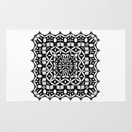 Mandala Square Black & White Rug