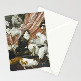 My Wife's Lovers by Carl Kahler 1883 Famous Cat Painting Stationery Cards