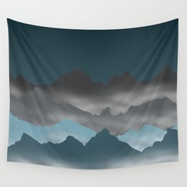 Blue Mountains and Mist Digital Illustration - Artwork Wall Tapestry