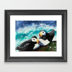 Puffins - Always together - by LiliFlore Framed Art Print