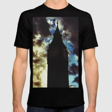 Big Ben up in the clouds MEDIUM Black Mens Fitted Tee