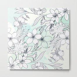 Floral Sketches Metal Print