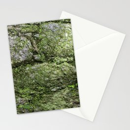 Wall of rocks covered with moss and plants Stationery Cards