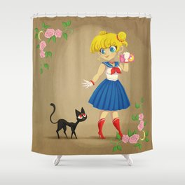 Retro Sailor Moon Shower Curtain