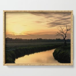 Beautiful scenic view of the sunset in the Ticino river natural park during fall Serving Tray