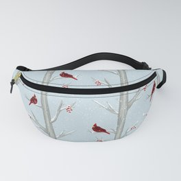 Red Cardinal Bird In The Winter Forest Fanny Pack