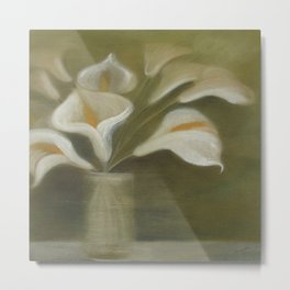 Calla Cut Flowers In A Vase Metal Print