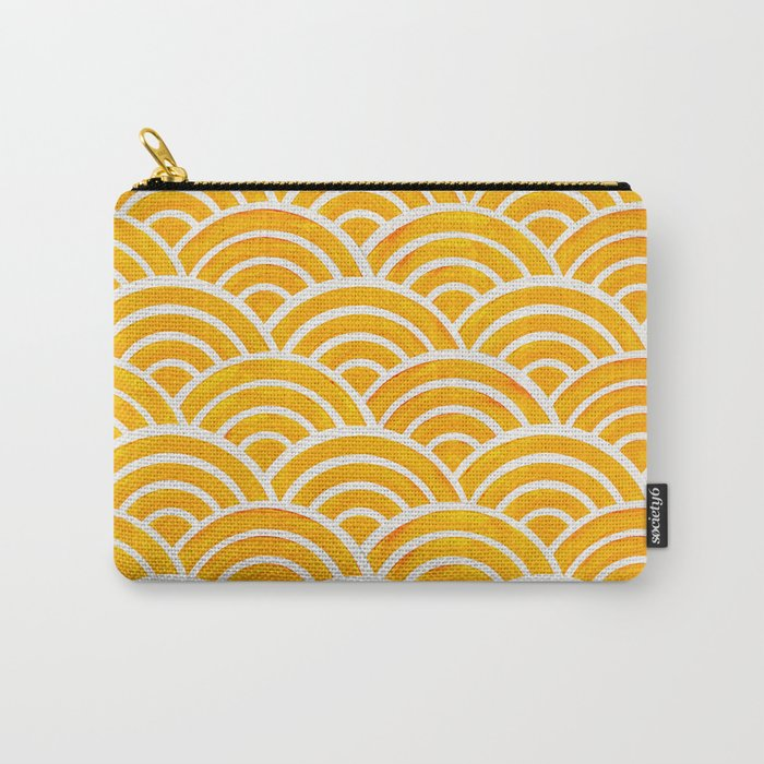 Japanese Seigaiha Wave – Marigold Palette Carry-All Pouch