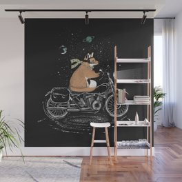 A fox rides a motorcycle Wall Mural