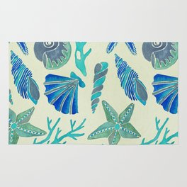 Blue Seashells Rug