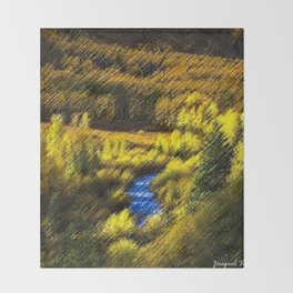 Aspen Forest, River, and Mountain Landscape by Jéanpaul Ferro Throw Blanket