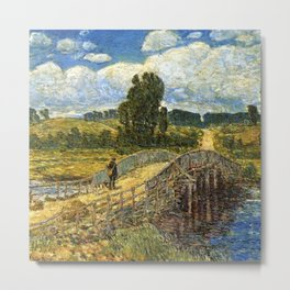 Classical Masterpiece 'Bridge at Old Lyme, Connecticut'' by Frederick Childe Hassam Metal Print