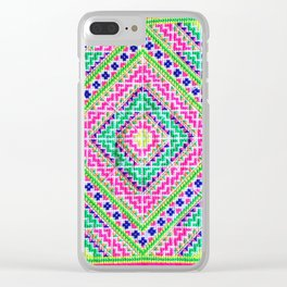 Hmong love square cross stitch Clear iPhone Case