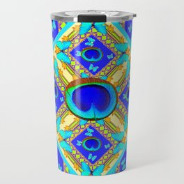 Blue Art Nouveau Turquoise Butterfly Designs Travel Mug
