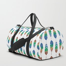 """Watercolor Painting of Picture """"Decorative Feathers"""" Duffle Bag"""
