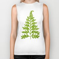 lime Biker Tanks featuring Lime Fern by Cat Coquillette