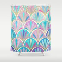 deco Shower Curtains featuring Glamorous Twenties Art Deco Pastel Pattern by micklyn