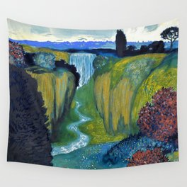 Floral Garden Landscape with Waterfall by Franz von Stuck Wall Tapestry