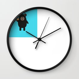 Black Bear with chicken Wall Clock