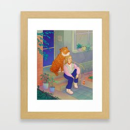 Staring at the Moon Framed Art Print