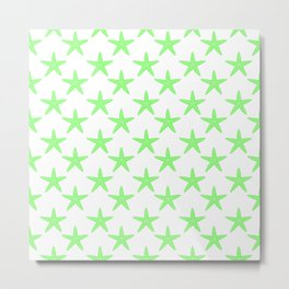 Starfishes (Light Green & White Pattern) Metal Print