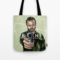 jesse pinkman Tote Bags featuring Jesse Pinkman by Denis O'Sullivan