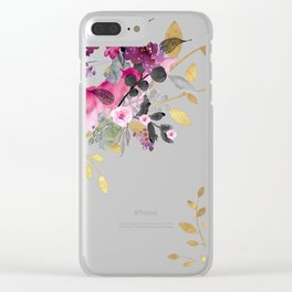 FLOWERS & GOLD  Clear iPhone Case